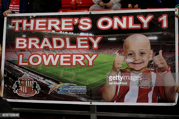 A banner to support Bradley Lowrey is displayed prior to the Premier League match between Sunderland and Chelsea at Stadium of Light on December 14...