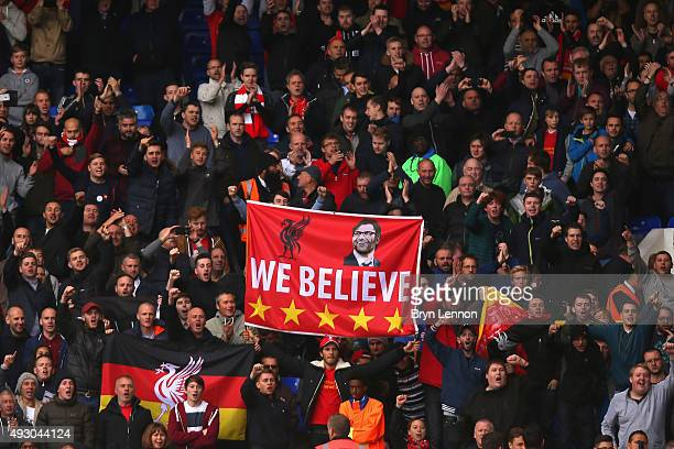 A banner to support new manager Jurgen Klopp is displayed among Liverpool supporters stand during the Barclays Premier League match between Tottenham...