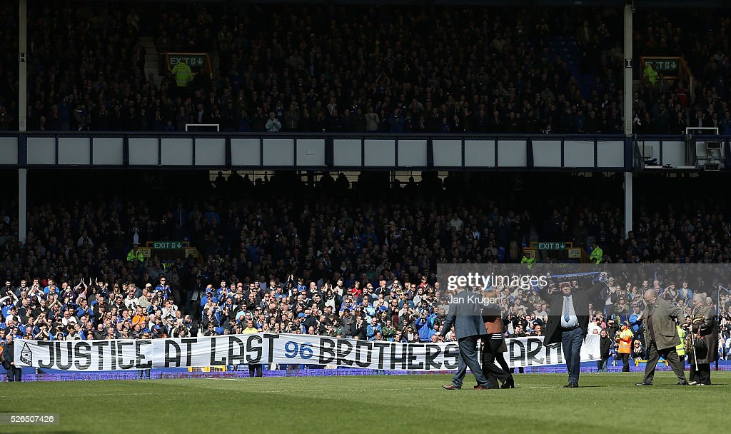 A banner to support the family members of the Hillsborough disaster victims are displayed prior to the Barclays Premier League match between Everton and A.F.C. Bournemouth at Goodison Park on April 30, 2016 in Liverpool, England.