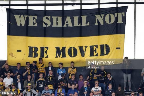 banner We shall not be movedduring the Dutch Jupiler League playoffs match between NAC Breda and FC Volendam at the Rat Verlegh stadium on May 21...