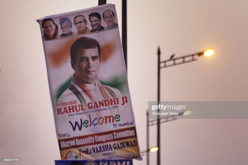 A banner welcoming Congress Vice-President, Rahul Gandhi at Bandra on March 1, 2013 in Mumbai, India. Rahul Gandhi is visiting Mumbai for the first time after he took over as Congress vice president.