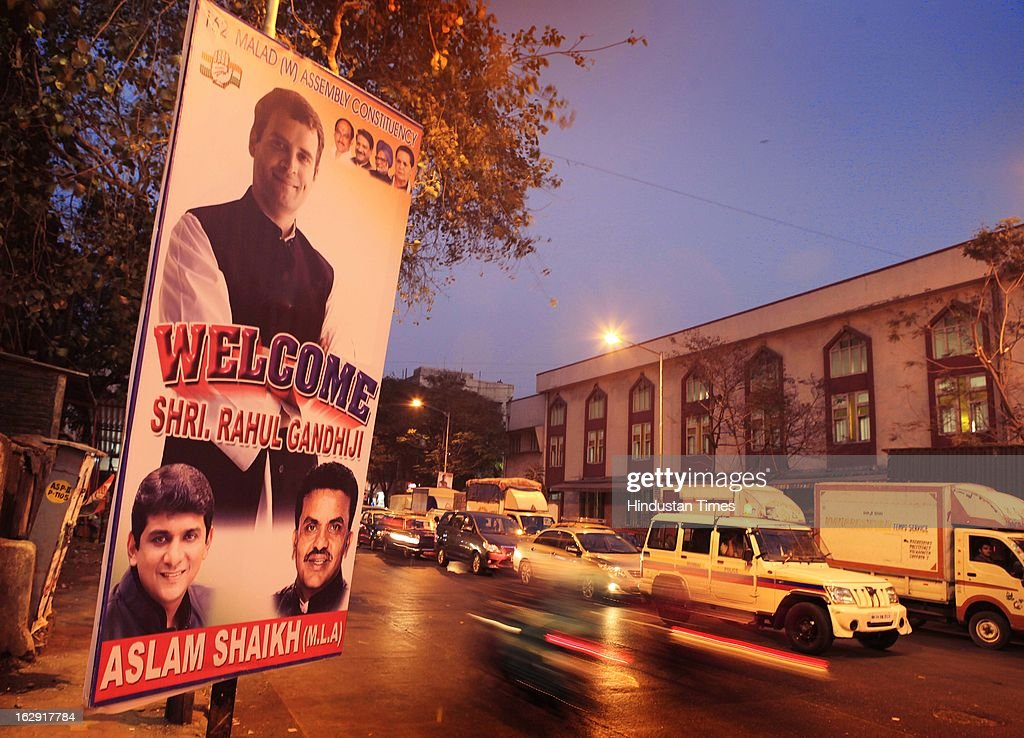 A banner welcoming Congress Vice-President, Rahul Gandhi at Mahim on March 1, 2013 in Mumbai, India. Rahul Gandhi is visiting Mumbai for the first time after he took over as Congress vice president.