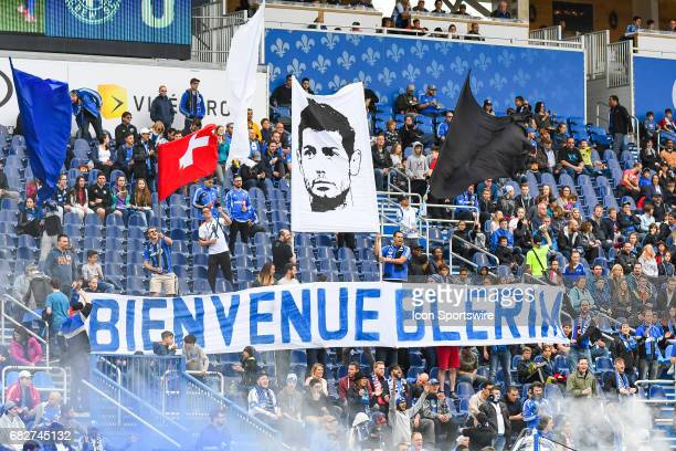 Banner welcoming new designated player Montreal Impact midfielder Belrim Dzemaili during the Columbus Crew FC versus the Montreal Impact game on May...