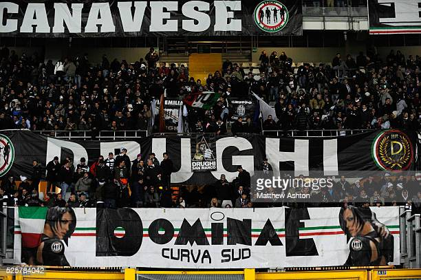 A banner with the logo of the Drughi Bianconeri a Juventus fan group in Curva Sud in the The Olimpico di Torino stadium