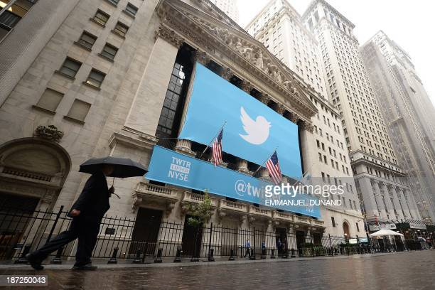 A banner with the logo of Twitter is set on the front of the New York Stock Exchange on November 7 2013 in New York Twitter hit Wall Street with a...