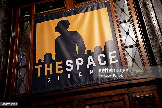 A banner with the silhouette of a boy at the entrance of The Space Cinema Odeon Milan Italy 2013