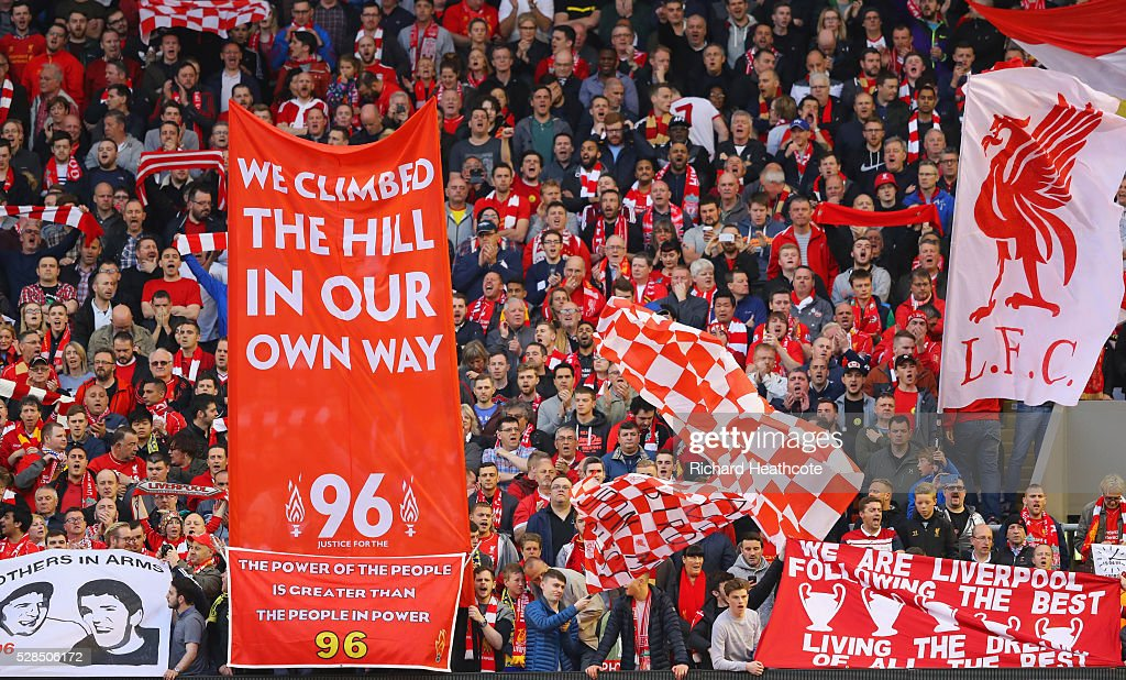 Banners and flags are waved on The Kop prior to the UEFA Europa League semi final second leg match between Liverpool and Villarreal CF at Anfield on May 5, 2016 in Liverpool, England.