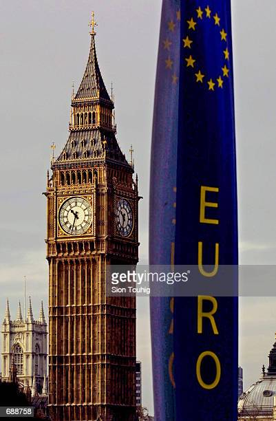 Banners announcing the new Euro currency hang opposite Big Ben December 21 2001 at the Houses of Parliament in London The Euro comes on line January...