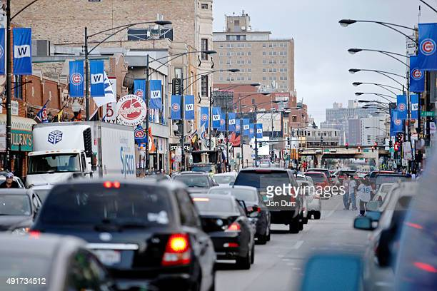 Banners are hung along Clark Street in the area surrounding Wrigley Field in support of the Chicago Cubs' during the National League Wild Card game...