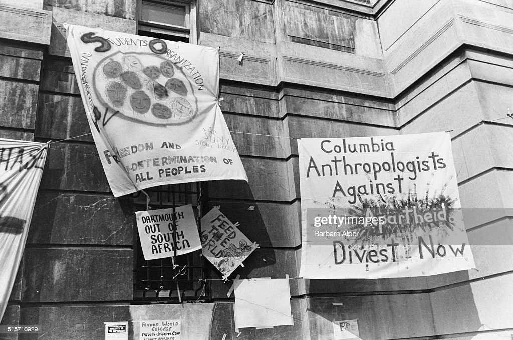 Banners at antiapartheid protest by students at the entrance to the Hamilton Hall building of Columbia University New York City 4th April 1984 The...