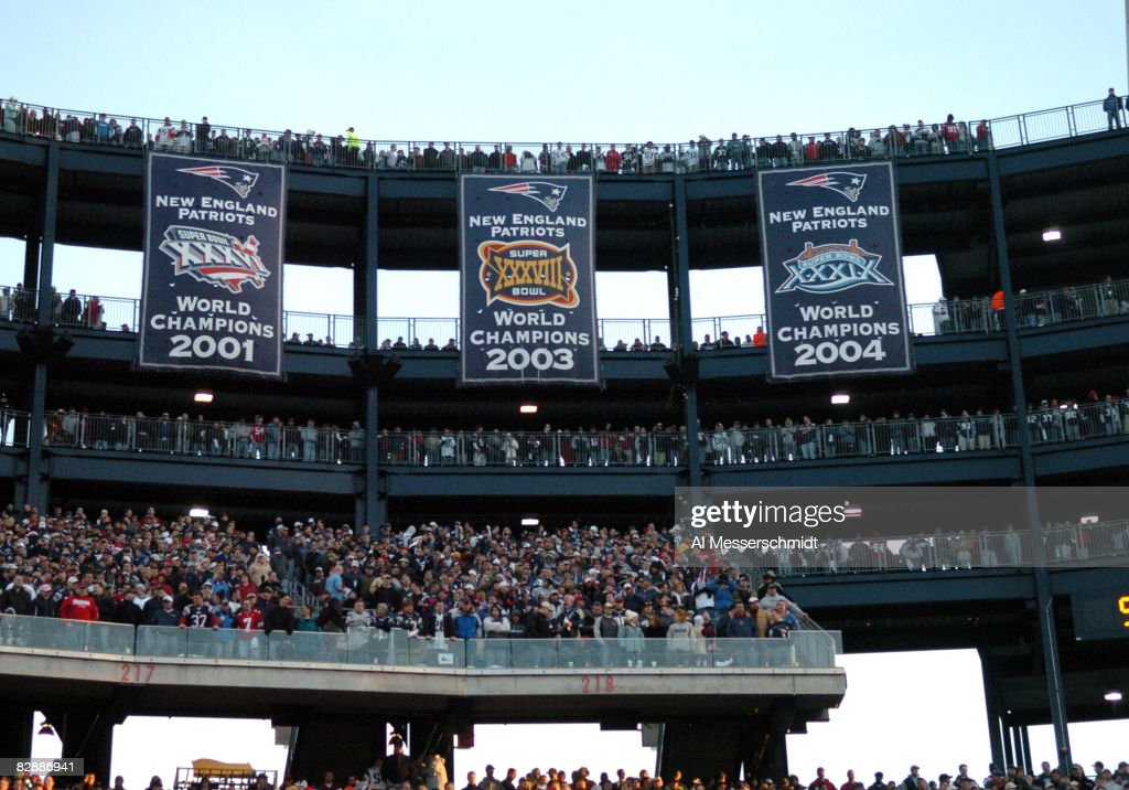 Banners celebrate championships at Gillette Stadium as the New England Patriots host the New York Jets in an NFL wild card playoff game Jan 7 2007 in...