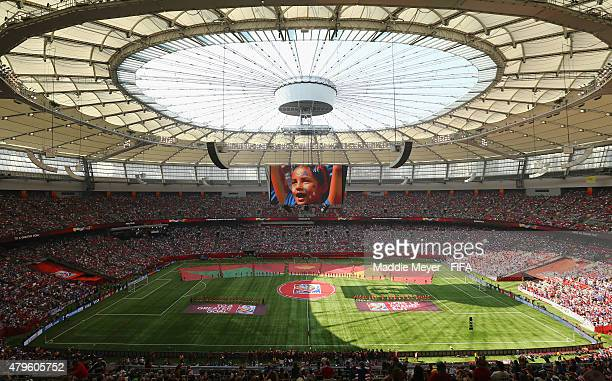FIFA banners cover the pitch before the FIFA Women's World Cup 2015 final match between USA and Japan at BC Place Stadium on July 5 2015 in Vancouver...