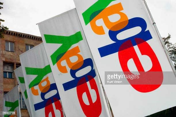 Banners display the Ebay logo at an Ebay Live event on September 27 2003 in Berlin Germany Ebay Germany held an Ebay Live event where several...