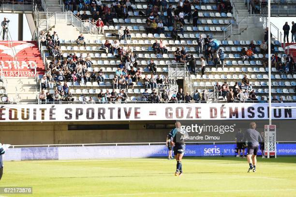 Banners during the Top 14 Match between Montpellier and Racing 92 on April 22 2017 in Montpellier France