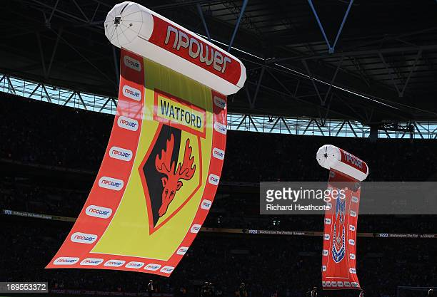 Banners float across the pitch prior to the npower Championship Playoff Final match between Watford and Crystal Palace at Wembley Stadium on May 27...