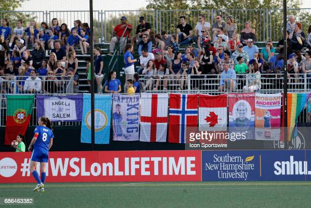 Banners for Breakers players and their countries in the fan section during an NWSL regular season match between the Boston Breakers and Portland...
