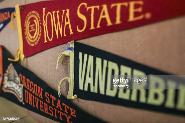 Banners for Iowa State University from top Vanderbildt University and Oregon State University are displayed in a classroom at the United StatesIndia...
