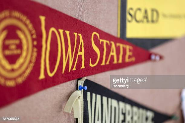 Banners for Savanna College of Art and Design from top Iowa State University and Vanderbildt University are displayed in a classroom at the United...