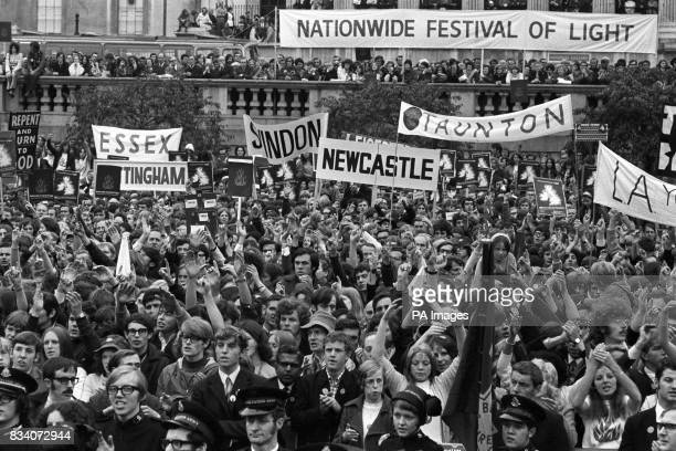 Banners from many parts of England held aloft in Trafalgar Square as crowds filled the square in a nationwide Festival of Light public rally designed...