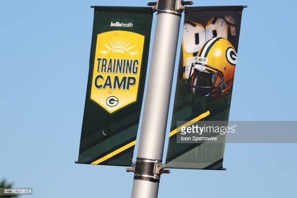 Banners hang at Lambeau Field welcoming fans to the Green Bay Packers Training Camp on July 27 2017 at Ray Nitschke Field in Green Bay WI