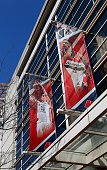 Banners of Washington Mystics basketball player Emma Meesseman and Washington Wizards basketball player Bradley Beal sits outside the Verizon Center...