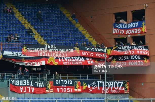 Banners protesting against Geno President Enrico Preziosi during the Serie A match between Genoa CFC and Atalanta BC at Stadio Luigi Ferraris on...