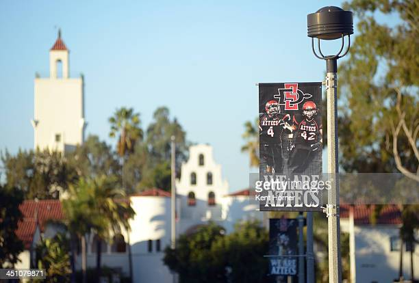 Banners supporting the athletic department line walkways throughout the campus of the San Diego State Aztecs that play home basketball games in...