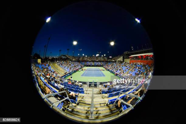Banque Nationale Court fisheye view during his second round match at ATP Coupe Rogers on August 9 at Uniprix Stadium in Montreal QC