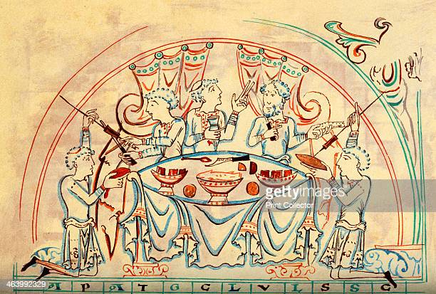A banquet 11th century From a medieval manuscript in the collection of the British Library An illustration from A Short History of the English People...