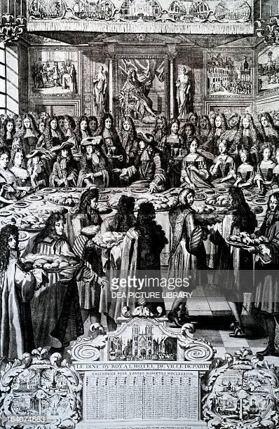Banquet given by King Louis XIV at Paris city hall engraving France 17th century Paris Bibliothèque Des Arts Decoratifs