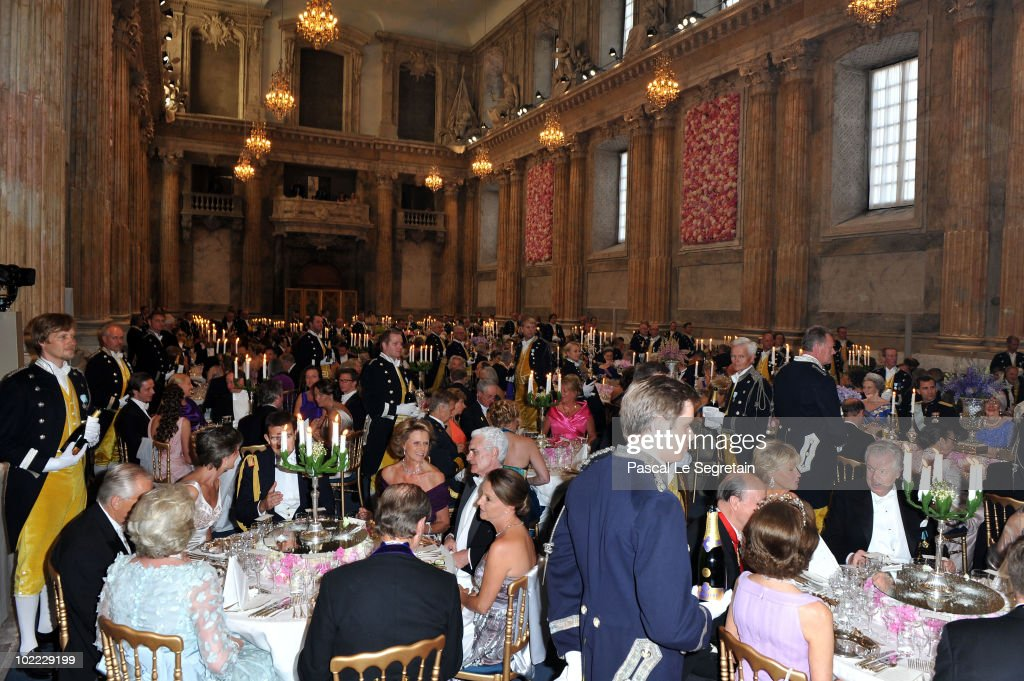 Banquet Guests Sit During The Wedding For Crown Princess Victoria Of Sweden And Her Husband