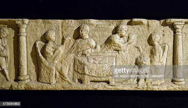 Banquet scene basrelief from the mausoleum of the Secundini brothers in Igel near Trier Germany GalloRoman civilisation 3rd century AD Rome Museo...