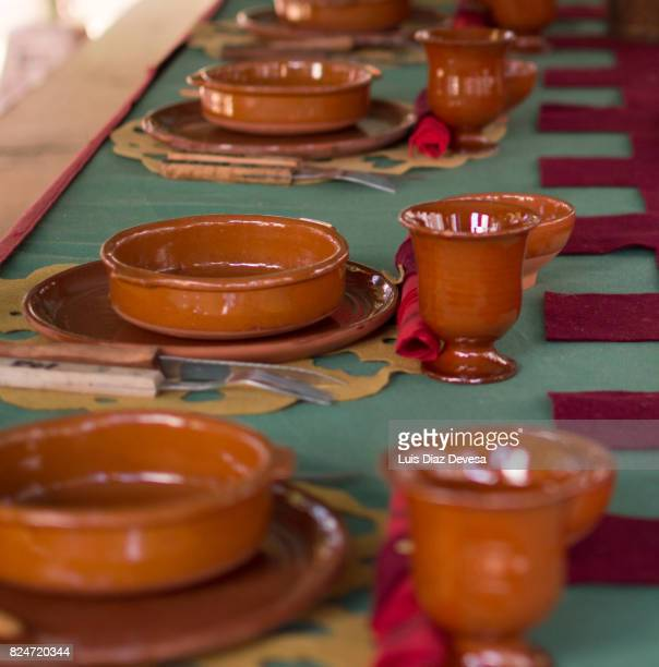 Banquet table set of clay