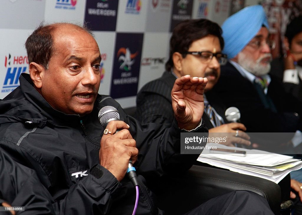 AK Bansal, head Coach of Delhi Waveriders, addresses media during a Press conference to unveil their might for the Hockey India League at National Stadium on January 10, 2013 in New Delhi, India. Hockey India League is professional league for field hockey competition that will be played from 14 January to 10 February. There are 5 franchise teams consisting of players from India and around the world. The matches will be played on Home and away basis culminating into multi header playoffs.