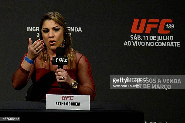 Bantamweight Challenger Bethe Correia of Brazil speaks to the media during the the UFC 189 World Media Tour Launch press conference at Maracanazinho...