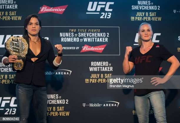 UFC bantamweight champion Amanda Nunes of Brazil and Valentina Shevchenko of Peru pose for a picture for the media during the UFC 213 Ultimate Media...