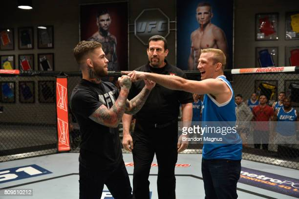UFC bantamweight champion Cody Garbrandt and TJ Dillashaw face off during the filming of The Ultimate Fighter Redemption at the UFC TUF Gym on March1...