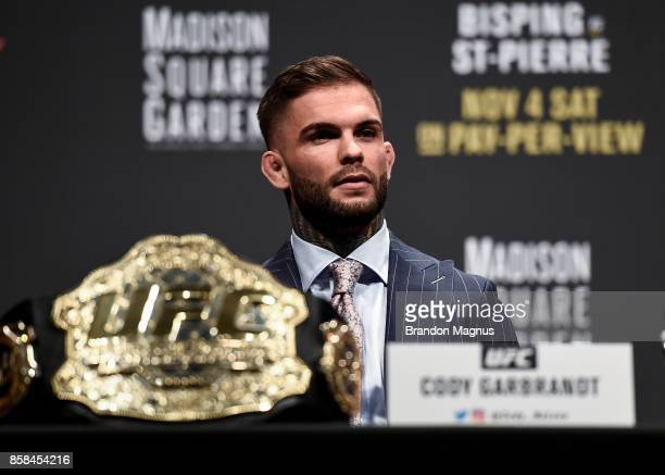 UFC bantamweight champion Cody Garbrandt interacts with fans and media during the UFC 217 news conference inside TMobile Arena on October 6 2017 in...