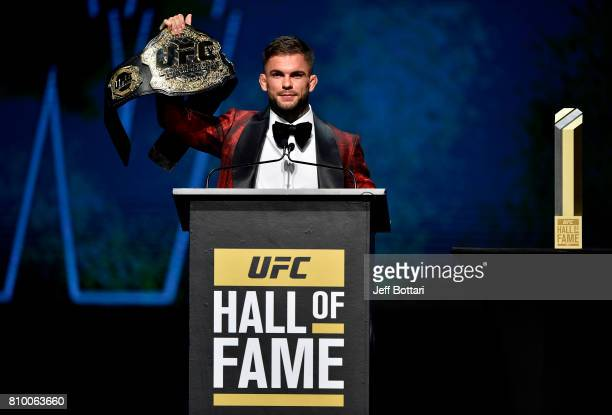 Bantamweight Champion Cody Garbrandt interacts with the crowd during the UFC Hall of Fame 2017 Induction Ceremony at the Park Theater on July 6 2017...