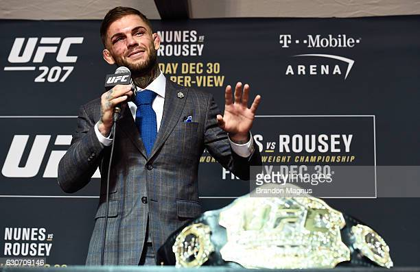 UFC bantamweight champion Cody Garbrandt speaks to the media after the UFC 207 event inside TMobile Arena on December 30 2016 in Las Vegas Nevada