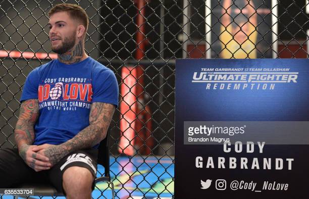 UFC bantamweight champion Cody Garbrandt speaks to the media during the TUF 25 Media Day at the TUF Gym on February 15 2017 in Las Vegas Nevada