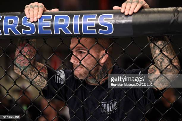 UFC bantamweight champion Cody Garbrandt stands in the corner of JP Buys of South Africa prior to his flyweight bout against Joby Sanchez during Dana...