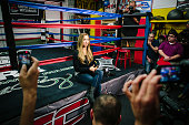 GLENDALE CA FEBRUARY 18 2015 UFC bantamweight champion fighter Ronda Rousey speaks to members of the media on February 18 at the Glendale Fighting...