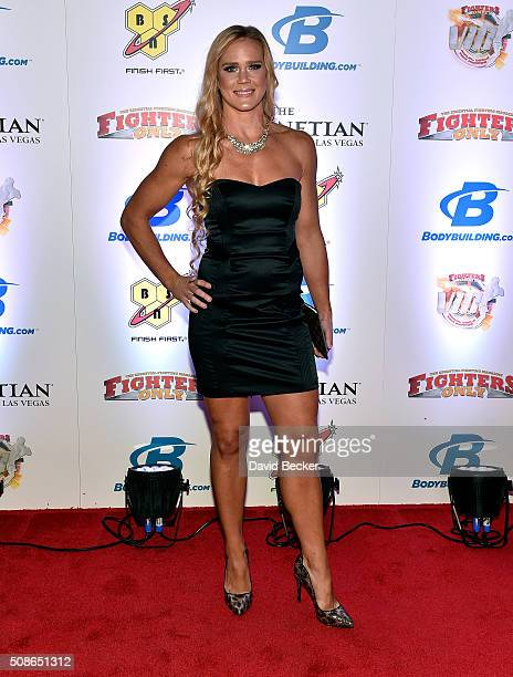 UFC bantamweight champion Holly Holm arrives at the eighth annual Fighters Only World Mixed Martial Arts Awards at The Palazzo Las Vegas on February...