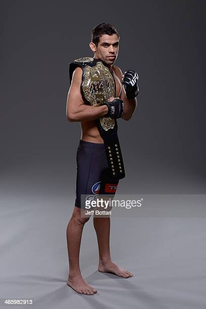 Bantamweight Champion Renan Barao poses for a portrait during a UFC photo session on January 29 2014 in Newark New Jersey