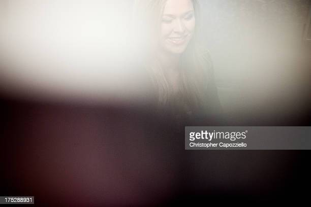 UFC bantamweight champion Ronda Rousey is interviewed by ESPN W's Editor Susie Arth at ESPN's headquarters August 1 2013 in Bristol Connecticut...