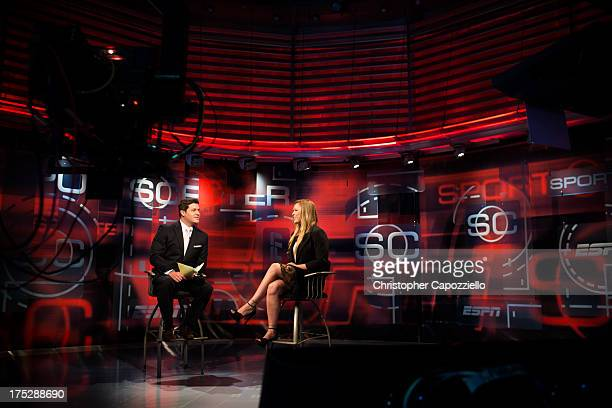 UFC bantamweight champion Ronda Rousey is interviewed on Sportscenter by Doug Kezirian on August 1 at ESPN's headquarters in Bristol Connecticut...