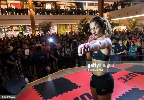Bantamweight contender Bethe Correia of Brazil poses for photo during an open training session at Iguatemi Shopping on March 08 2017 in Fortaleza...