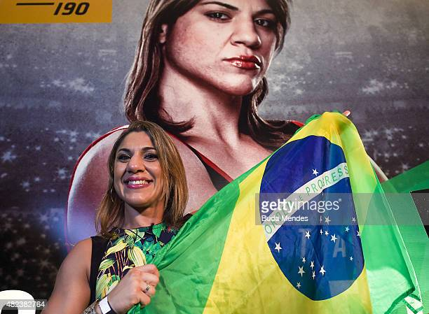 Bantamweight fighter Bethe Correia of Brazil pose for a photo during Ultimate Media Day at Sheraton Hotel on July 30 2015 in Rio de Janeiro Brazil
