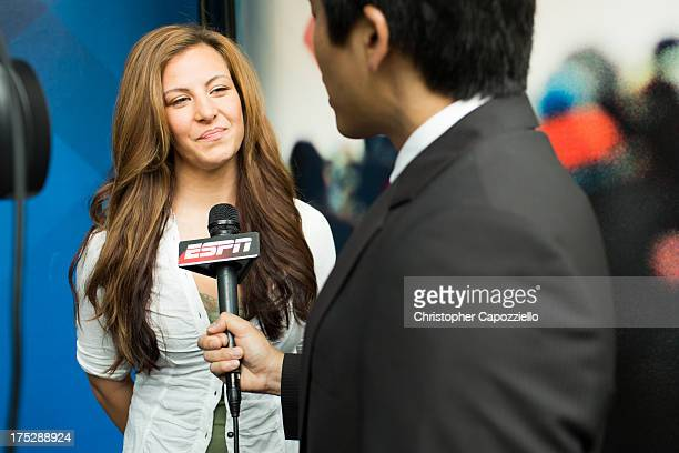 UFC bantamweight fighter Miesha Tate is interviewed by Bram Weinstein at ESPN's headquarters August 1 in Bristol Connecticut Tate will battle...